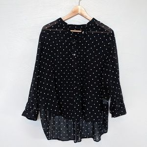 Madewell sheer black shirt with white polka dots